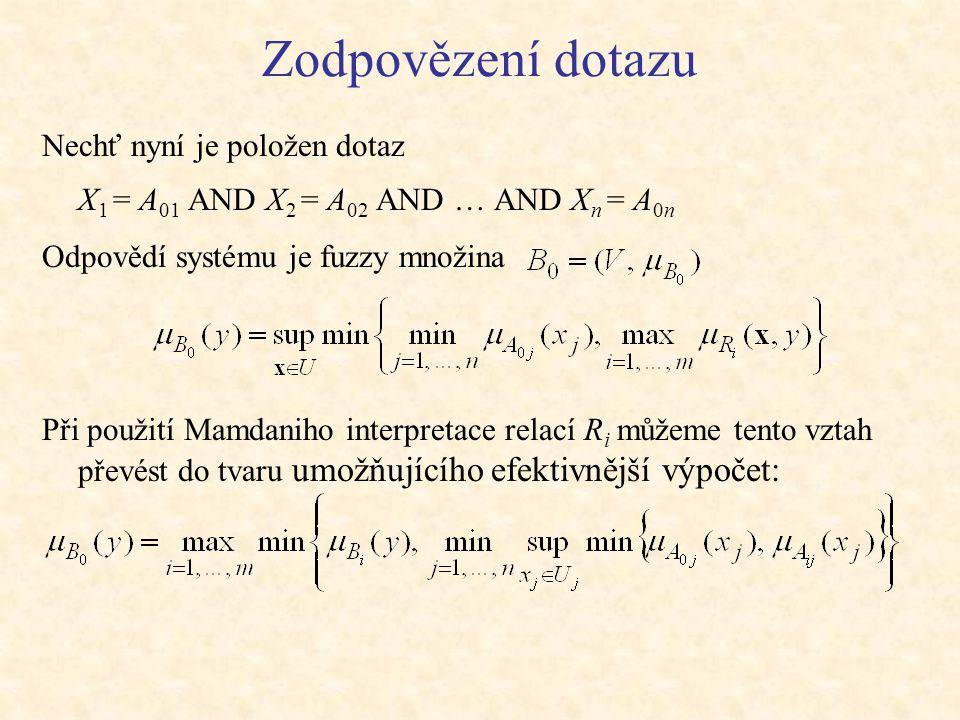 Zodpovězení dotazu Nechť nyní je položen dotaz X 1 = A 01 AND X 2 = A 02 AND … AND X n = A 0n Odpovědí systému je fuzzy množina Při použití Mamdaniho interpretace relací R i můžeme tento vztah převést do tvaru umožňujícího efektivnější výpočet: