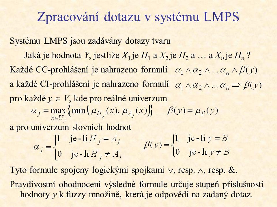 Zpracování dotazu v systému LMPS Systému LMPS jsou zadávány dotazy tvaru Jaká je hodnota Y, jestliže X 1 je H 1 a X 2 je H 2 a … a X n je H n .