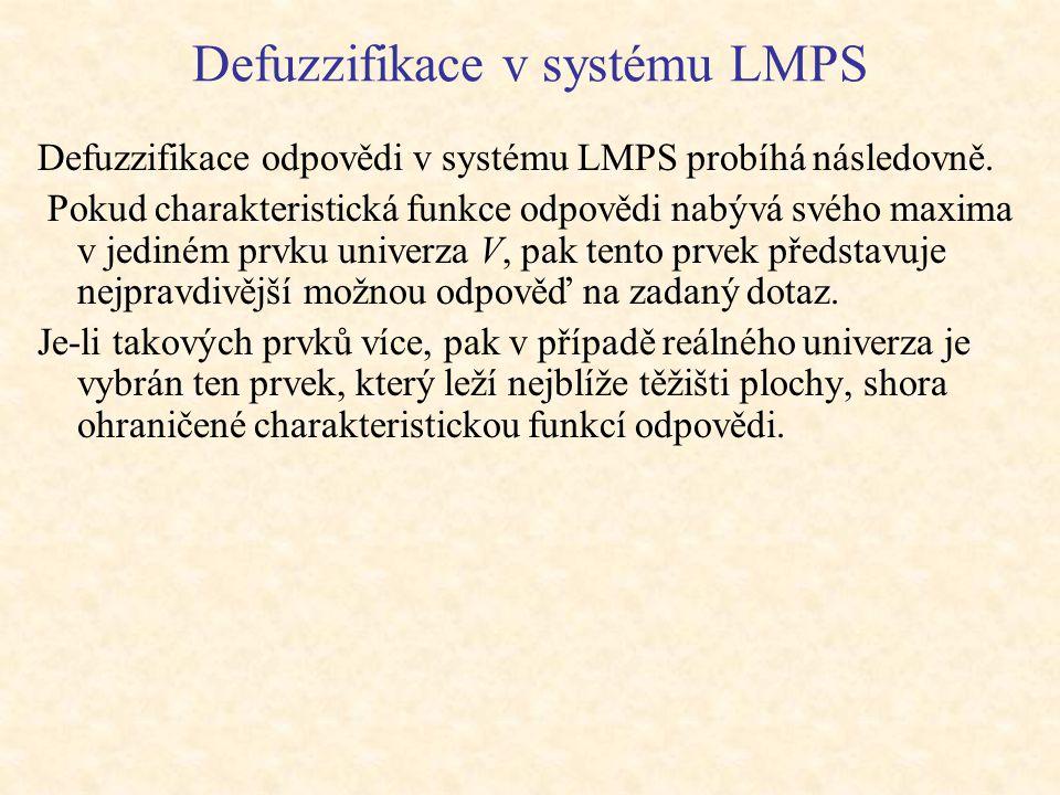 Defuzzifikace v systému LMPS Defuzzifikace odpovědi v systému LMPS probíhá následovně.