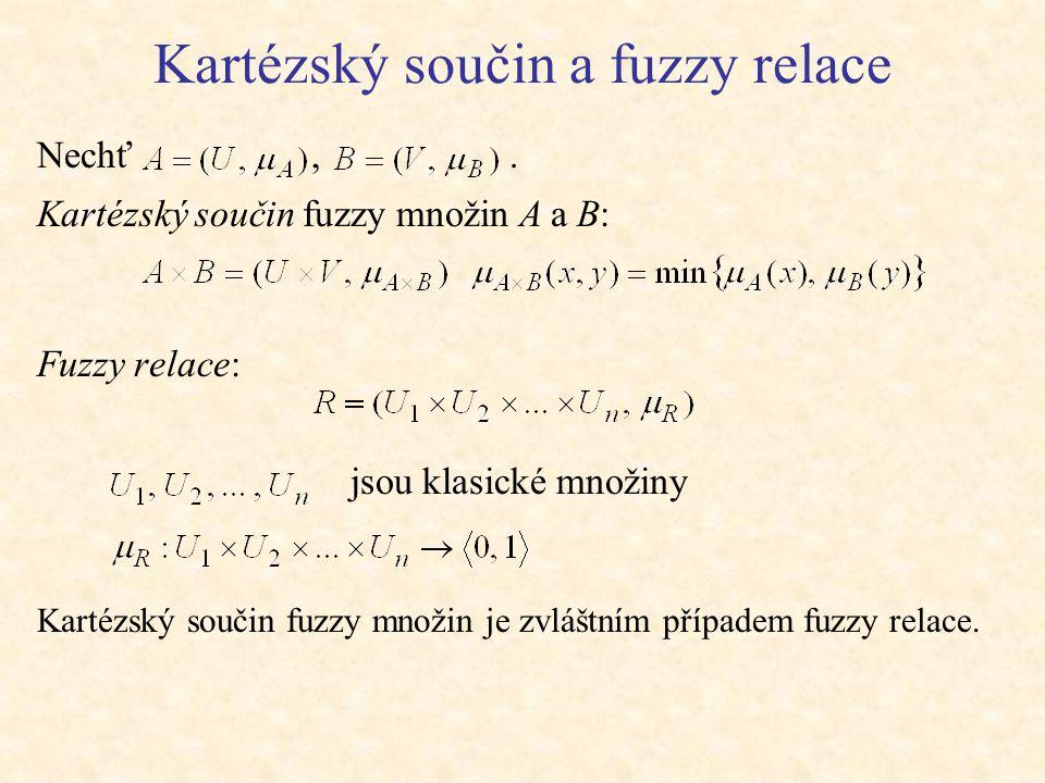 Kartézský součin a fuzzy relace Nechť,.