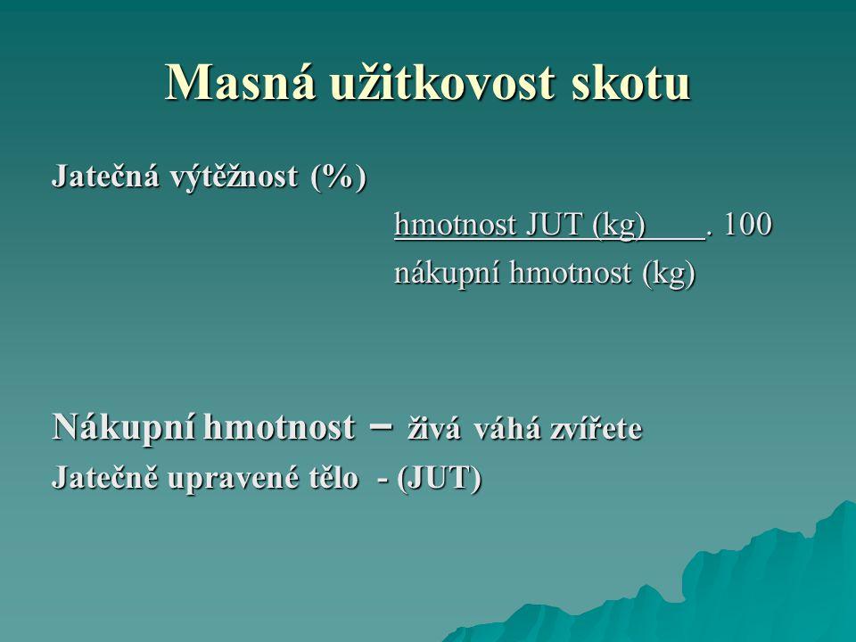 Masná užitkovost skotu Jatečná výtěžnost (%) hmotnost JUT (kg).