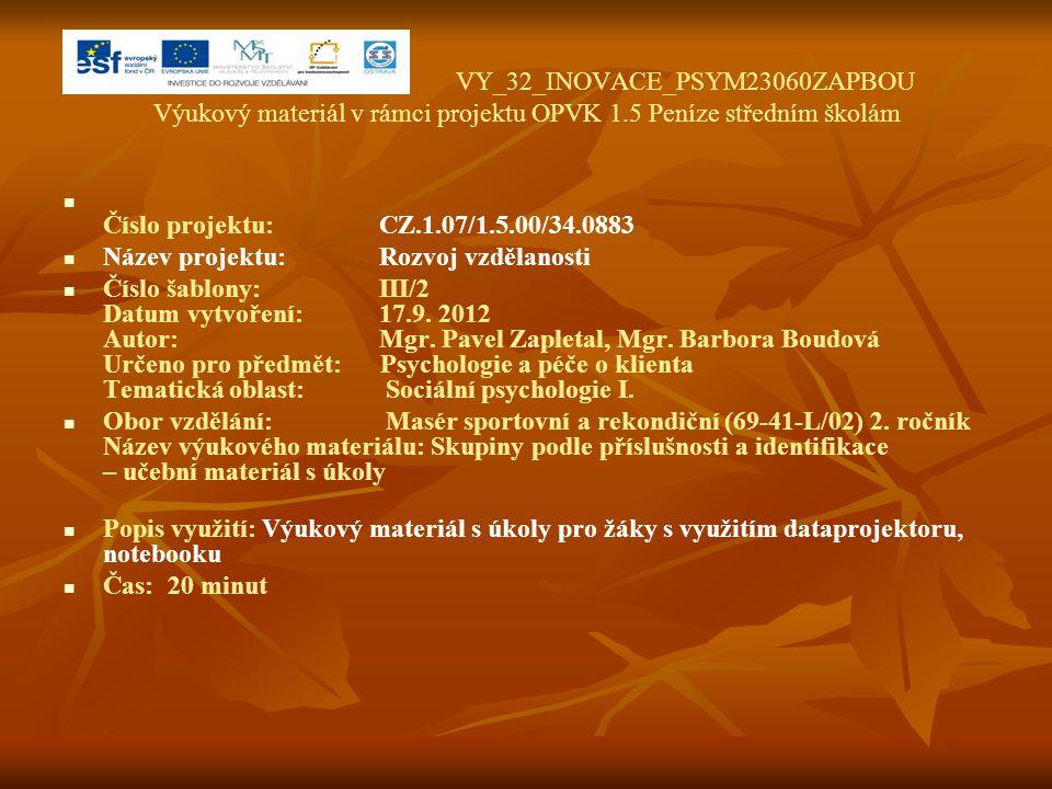 VY_32_INOVACE_PSYM23060ZAPBOU Výukový materiál v rámci projektu OPVK 1.5 Peníze středním školám Číslo projektu:CZ.1.07/1.5.00/34.0883 Název projektu:R