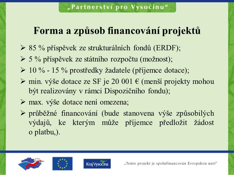 Forma a způsob financování projektů  85 % příspěvek ze strukturálních fondů (ERDF);  5 % příspěvek ze státního rozpočtu (možnost);  10 % - 15 % prostředky žadatele (příjemce dotace);  min.
