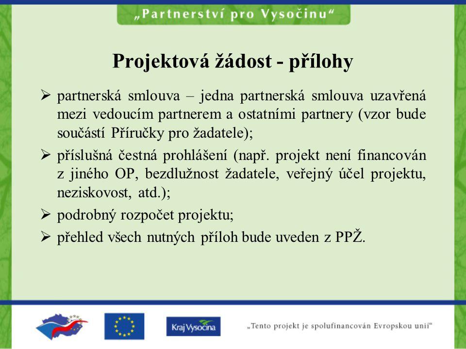 Projektová žádost - přílohy  partnerská smlouva – jedna partnerská smlouva uzavřená mezi vedoucím partnerem a ostatními partnery (vzor bude součástí Příručky pro žadatele);  příslušná čestná prohlášení (např.