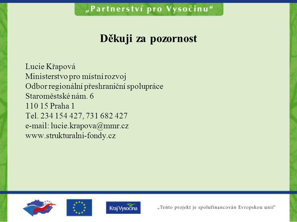 Děkuji za pozornost Lucie Křapová Ministerstvo pro místní rozvoj Odbor regionální přeshraniční spolupráce Staroměstské nám.
