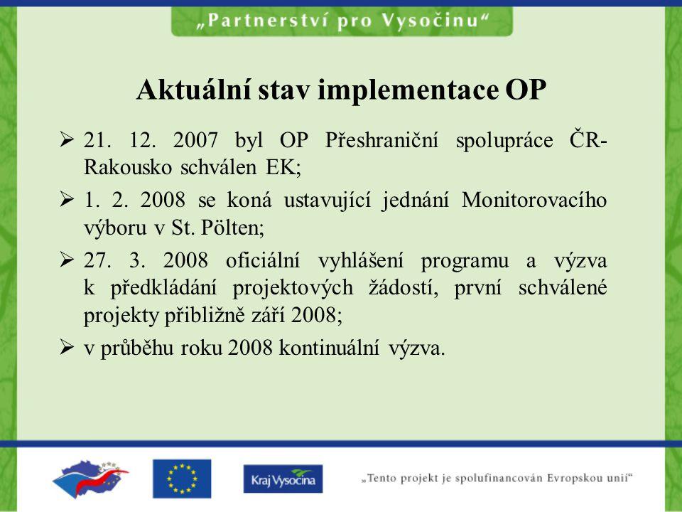 Aktuální stav implementace OP  21. 12. 2007 byl OP Přeshraniční spolupráce ČR- Rakousko schválen EK;  1. 2. 2008 se koná ustavující jednání Monitoro