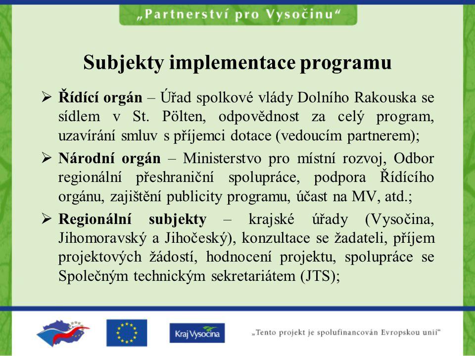 Subjekty implementace programu  Řídící orgán – Úřad spolkové vlády Dolního Rakouska se sídlem v St.