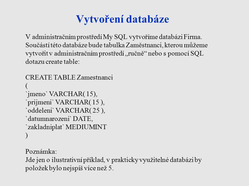 Vytvoření databáze V administračním prostředí My SQL vytvoříme databázi Firma.