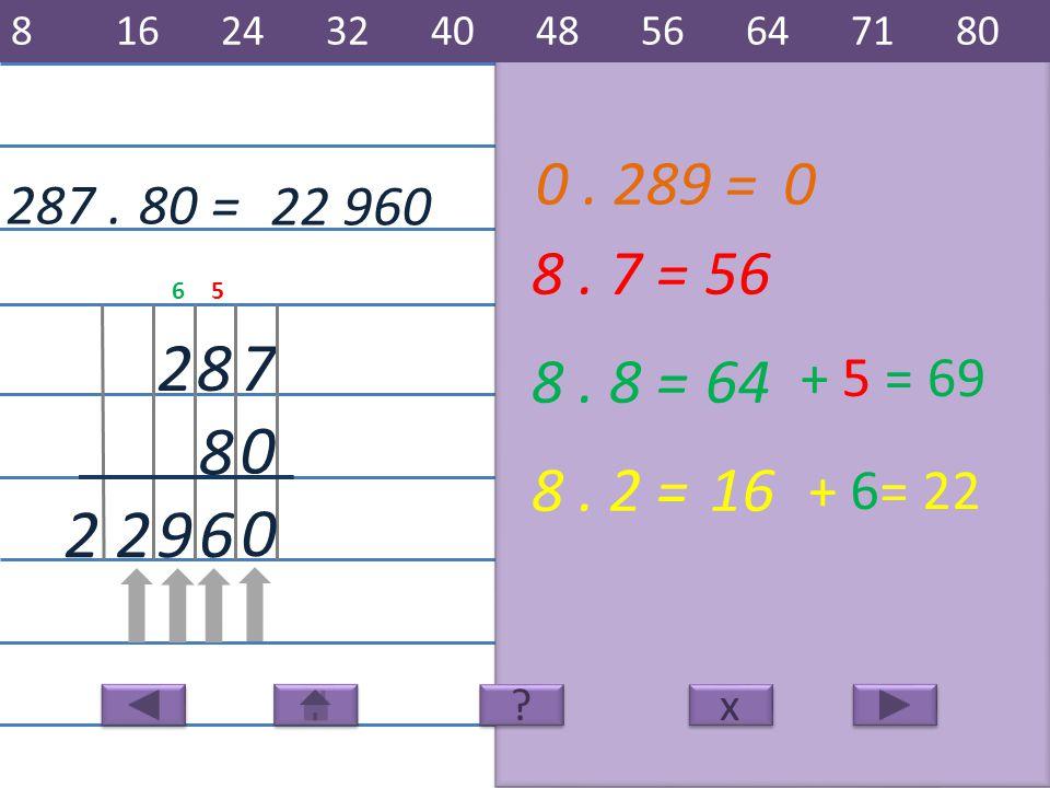 287. 22 960 7 8 82 8. 7 =56 6 8. 8 =64 8. 2 =16 922 80 = x x 8162432404856647180 ? ? + 5 = 69 + 6= 22 56 0 0. 289 =0 0