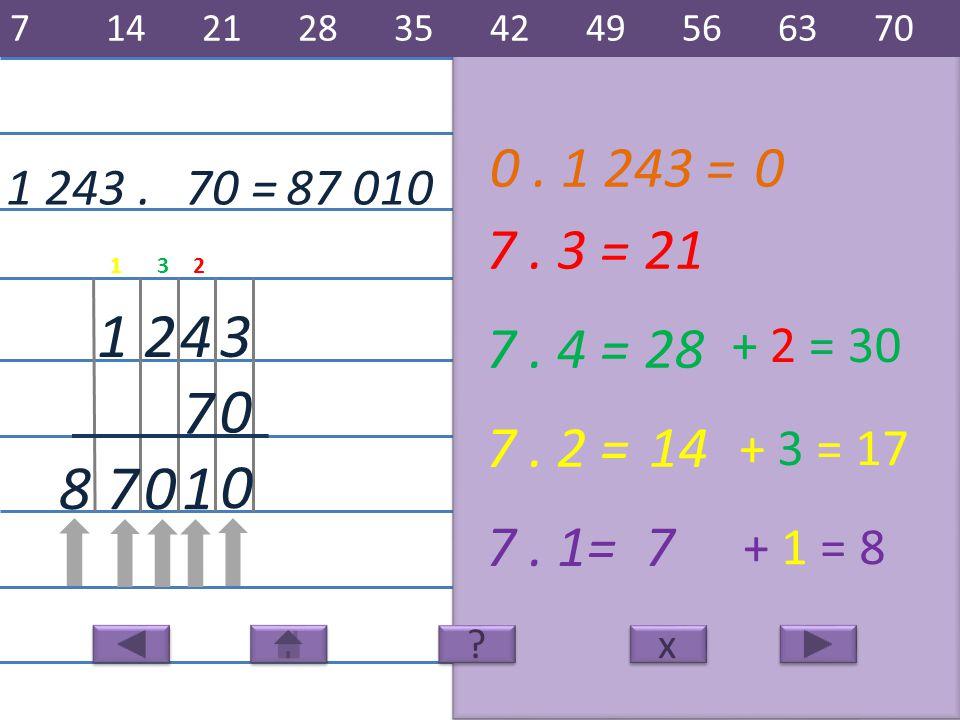 1 243.87 010 3 7 421 7. 3 =21 1 7. 4 =28 7. 2 =14 7. 1=7 078 70 = x x 7142128354249566370 ? ? + 2 = 30 + 3 = 17 + 1 = 8 231 0 0. 1 243 =0 0