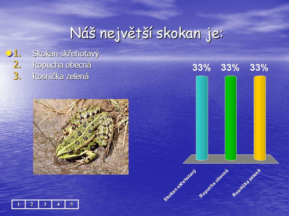 Náš největší skokan je: Náš největší skokan je: 1. Skokan skřehotavý 2. Ropucha obecná 3. Rosnička zelená 12345