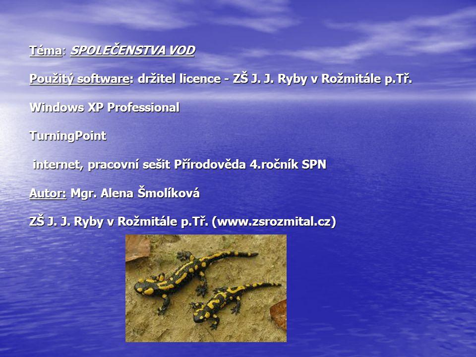 Téma: SPOLEČENSTVA VOD Použitý software: držitel licence - ZŠ J. J. Ryby v Rožmitále p.Tř. Windows XP Professional TurningPoint internet, pracovní seš