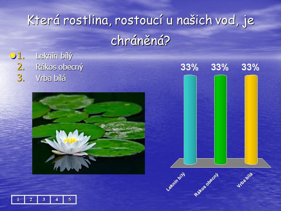Která rostlina, rostoucí u našich vod, je chráněná? 12345 1. Leknín bílý 2. Rákos obecný 3. Vrba bílá