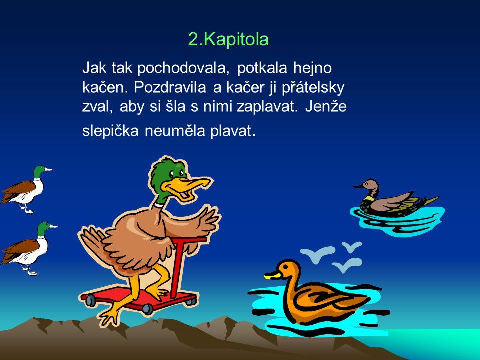 2.Kapitola Jak tak pochodovala, potkala hejno kačen. Pozdravila a kačer ji přátelsky zval, aby si šla s nimi zaplavat. Jenže slepička neuměla plavat.