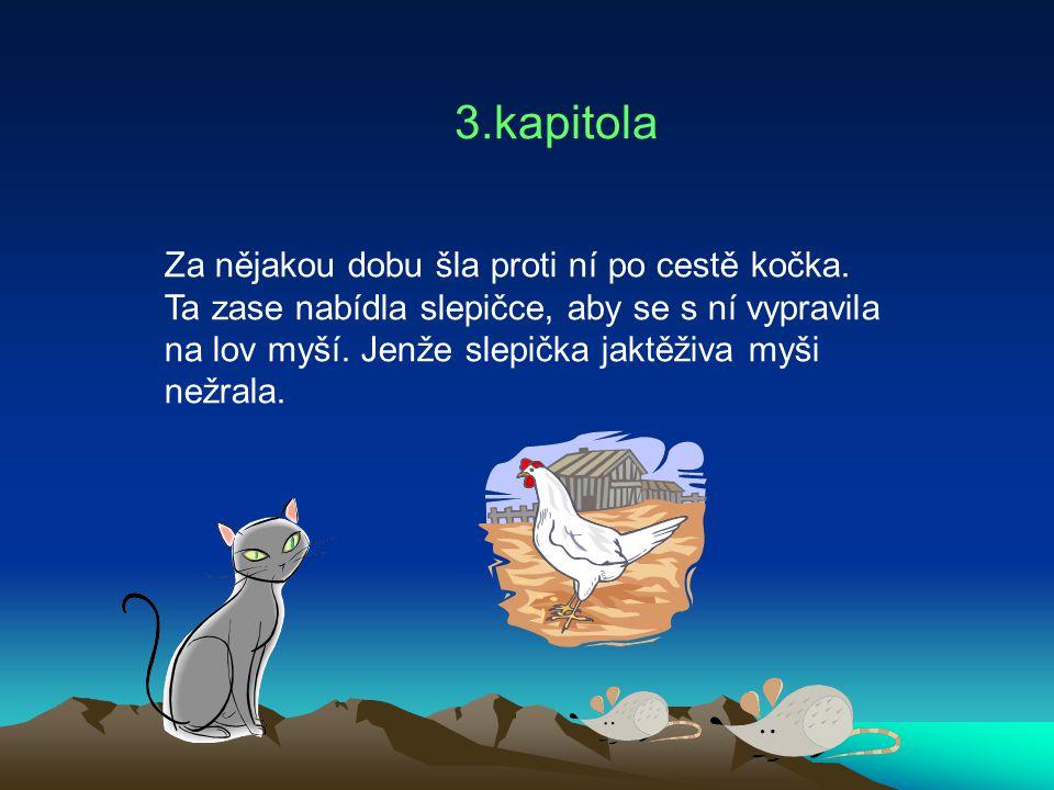 3.kapitola Za nějakou dobu šla proti ní po cestě kočka. Ta zase nabídla slepičce, aby se s ní vypravila na lov myší. Jenže slepička jaktěživa myši než