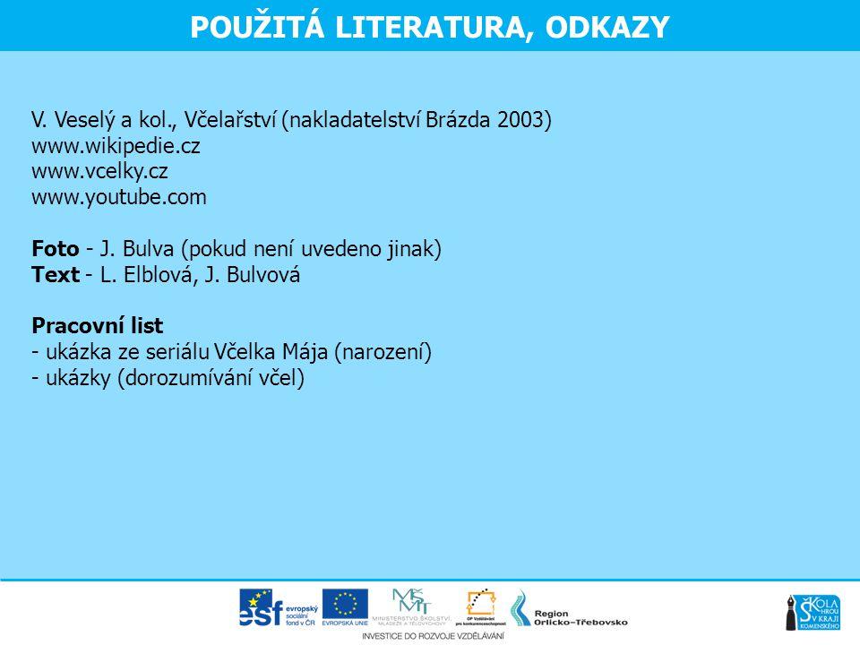 POUŽITÁ LITERATURA, ODKAZY V. Veselý a kol., Včelařství (nakladatelství Brázda 2003) www.wikipedie.cz www.vcelky.cz www.youtube.com Foto - J. Bulva (p