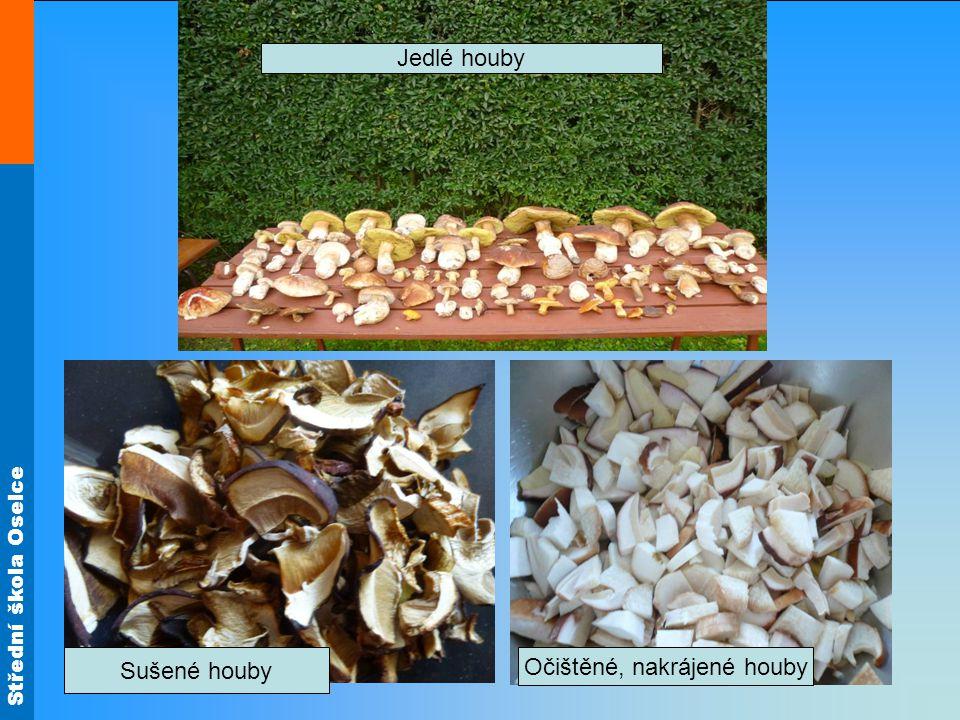 Střední škola Oselce Jedlé houby Sušené houby Očištěné, nakrájené houby