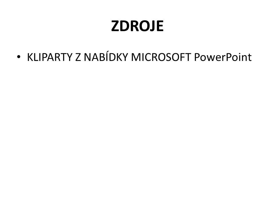 ZDROJE KLIPARTY Z NABÍDKY MICROSOFT PowerPoint