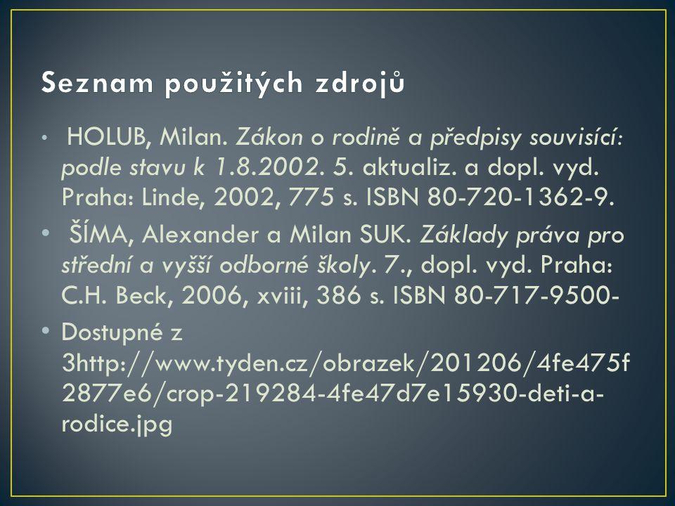 HOLUB, Milan. Zákon o rodině a předpisy souvisící: podle stavu k 1.8.2002. 5. aktualiz. a dopl. vyd. Praha: Linde, 2002, 775 s. ISBN 80-720-1362-9. ŠÍ