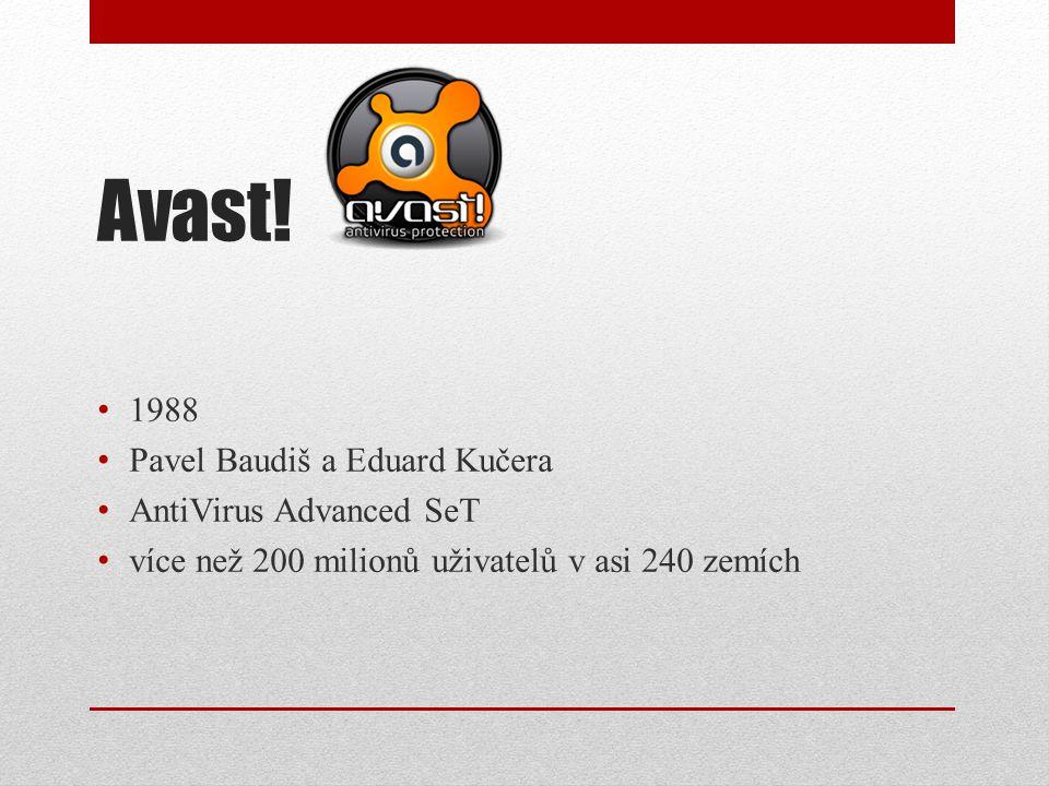 Avast! 1988 Pavel Baudiš a Eduard Kučera AntiVirus Advanced SeT více než 200 milionů uživatelů v asi 240 zemích