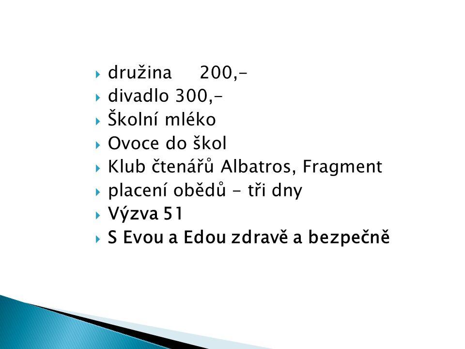  družina 200,-  divadlo 300,-  Školní mléko  Ovoce do škol  Klub čtenářů Albatros, Fragment  placení obědů - tři dny  Výzva 51  S Evou a Edou zdravě a bezpečně