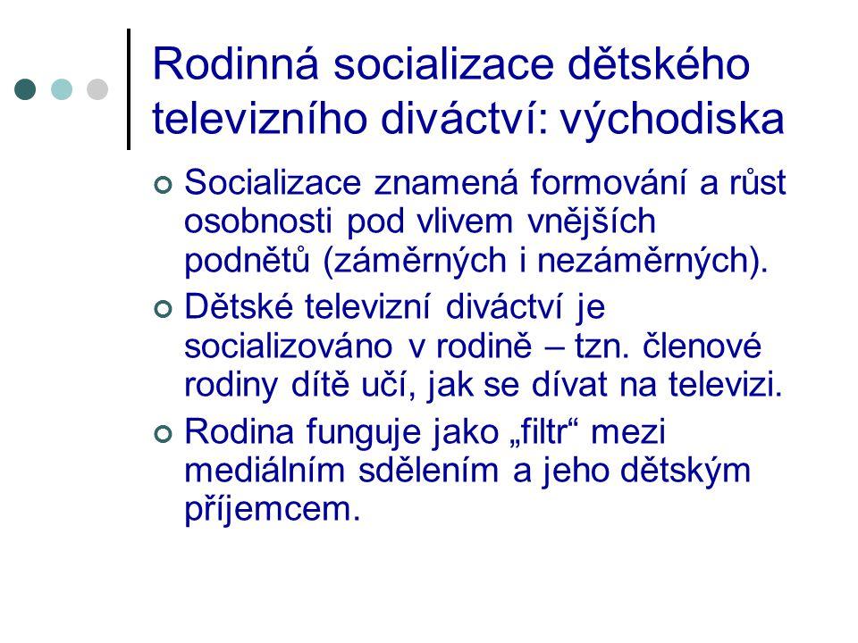 Rodinná socializace dětského televizního diváctví: východiska Socializace znamená formování a růst osobnosti pod vlivem vnějších podnětů (záměrných i nezáměrných).