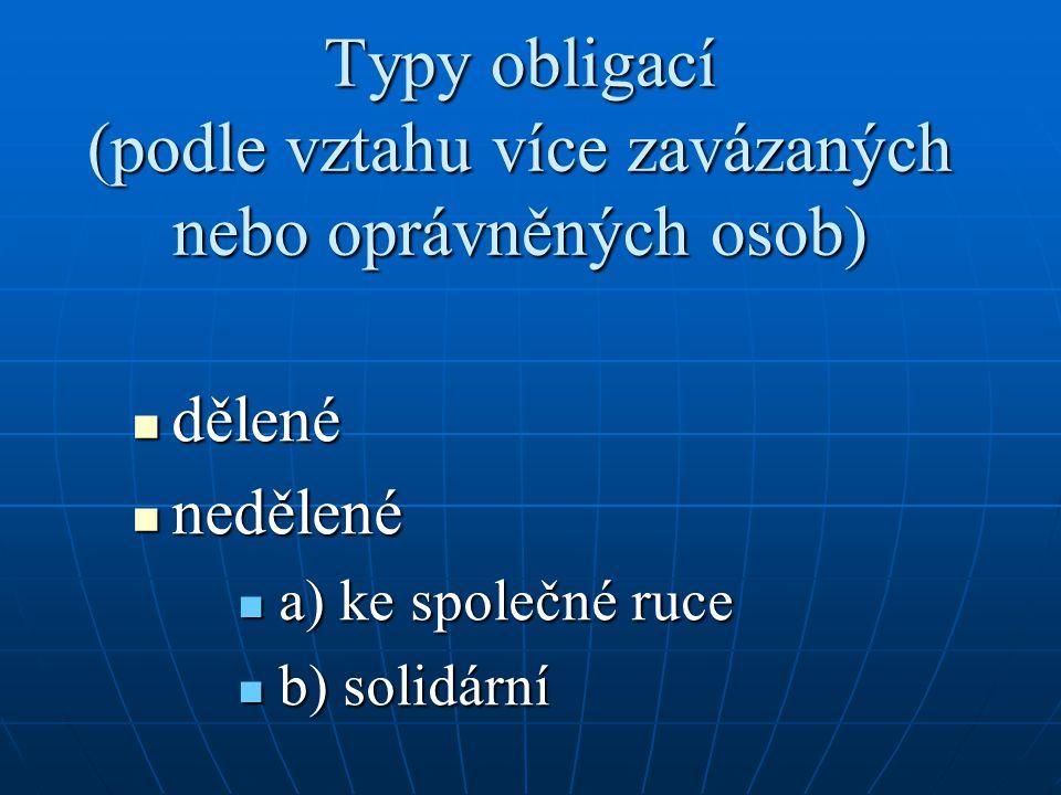 Typy obligací (podle vztahu více zavázaných nebo oprávněných osob) dělené dělené nedělené nedělené a) ke společné ruce a) ke společné ruce b) solidární b) solidární