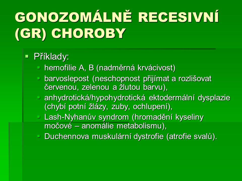 GONOZOMÁLNĚ RECESIVNÍ (GR) CHOROBY  Příklady:  hemofilie A, B (nadměrná krvácivost)  barvoslepost (neschopnost přijímat a rozlišovat červenou, zelenou a žlutou barvu),  anhydrotická/hypohydrotická ektodermální dysplazie (chybí potní žlázy, zuby, ochlupení),  Lash-Nyhanův syndrom (hromadění kyseliny močové – anomálie metabolismu),  Duchennova muskulární dystrofie (atrofie svalů).