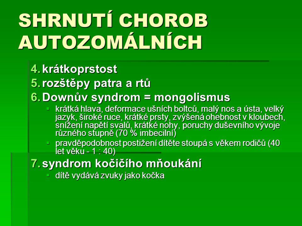 SHRNUTÍ CHOROB AUTOZOMÁLNÍCH 4.krátkoprstost 5.rozštěpy patra a rtů 5.rozštěpy patra a rtů 6.Downův syndrom = mongolismus  krátká hlava, deformace ušních boltců, malý nos a ústa, velký jazyk, široké ruce, krátké prsty, zvýšená ohebnost v kloubech, snížení napětí svalů, krátké nohy, poruchy duševního vývoje různého stupně (70 % imbecilní)  pravděpodobnost postižení dítěte stoupá s věkem rodičů (40 let věku - 1 : 40) 7.syndrom kočičího mňoukání  dítě vydává zvuky jako kočka