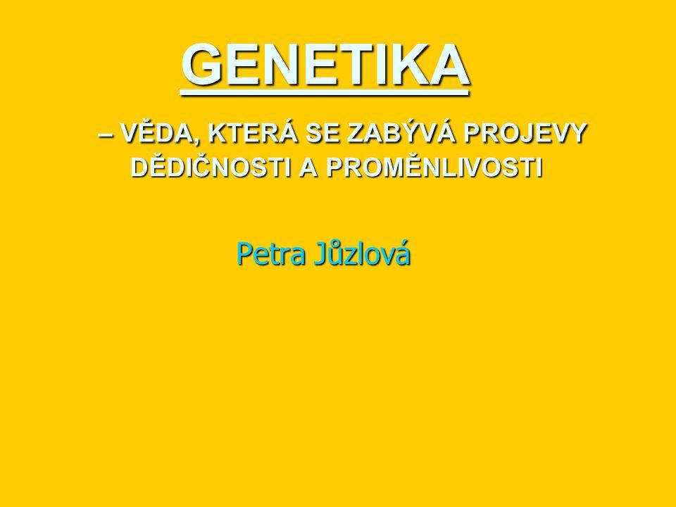 GENETIKA – VĚDA, KTERÁ SE ZABÝVÁ PROJEVY DĚDIČNOSTI A PROMĚNLIVOSTI Petra Jůzlová
