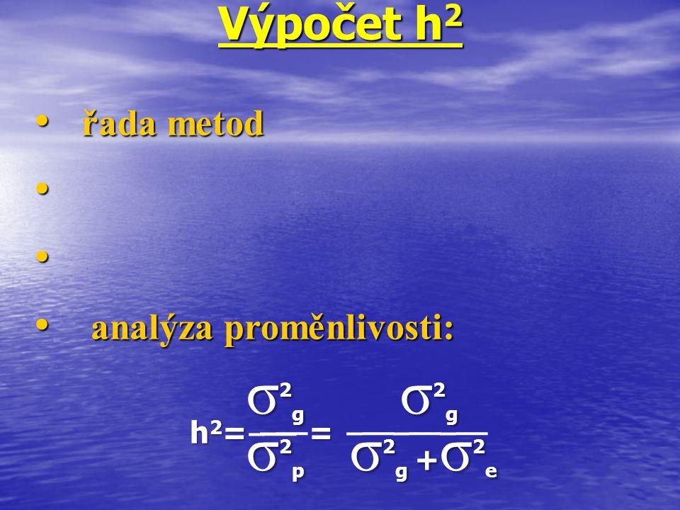 Výpočet h 2 řada metod řada metod analýza proměnlivosti: analýza proměnlivosti: h 2 = = σ 2 g σ 2 g σ 2 p σ 2 g + σ 2 e