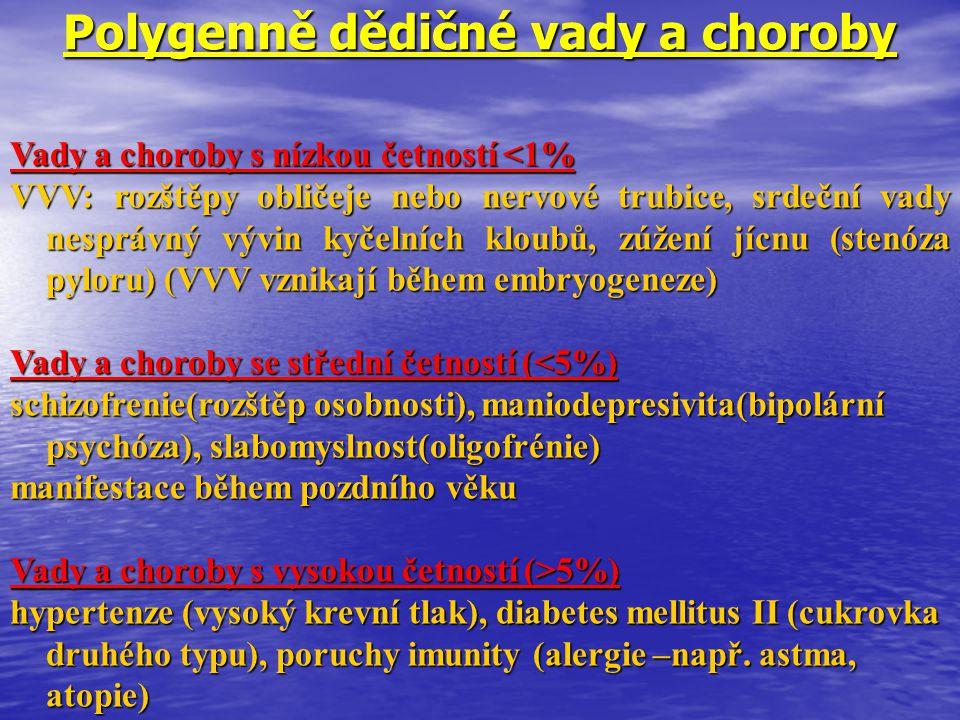 Polygenně dědičné vady a choroby Vady a choroby s nízkou četností <1% VVV: rozštěpy obličeje nebo nervové trubice, srdeční vady nesprávný vývin kyčeln