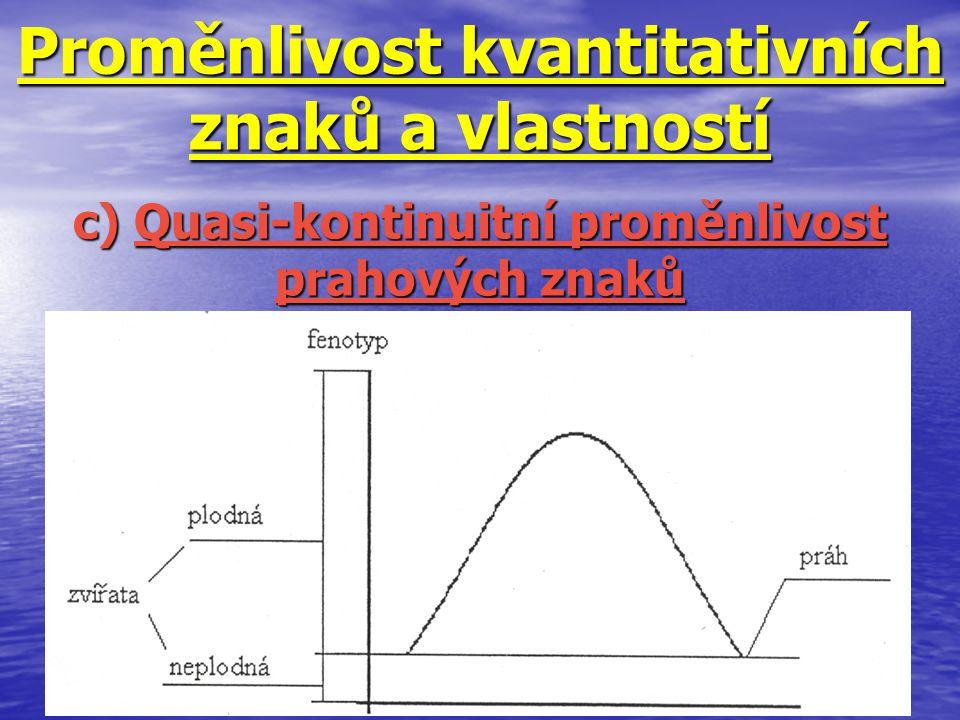 Proměnlivost kvantitativních znaků a vlastností c) Quasi-kontinuitní proměnlivost prahových znaků