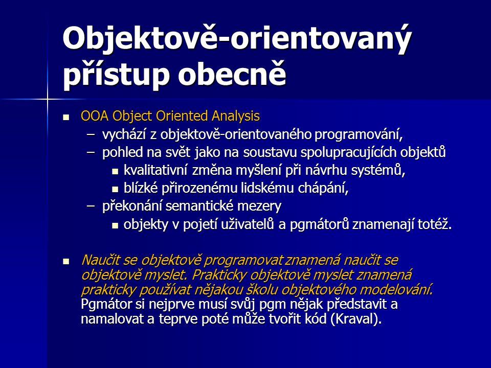 Objektově-orientovaný přístup obecně OOA Object Oriented Analysis OOA Object Oriented Analysis –vychází z objektově-orientovaného programování, –pohle