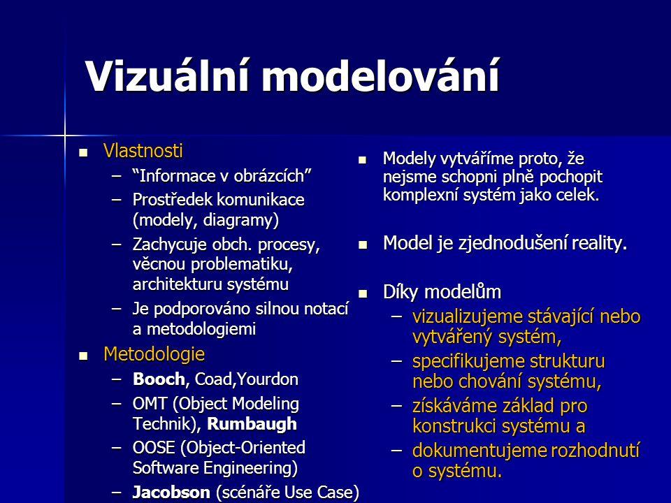 """Vizuální modelování Vlastnosti Vlastnosti –""""Informace v obrázcích"""" –Prostředek komunikace (modely, diagramy) –Zachycuje obch. procesy, věcnou problema"""