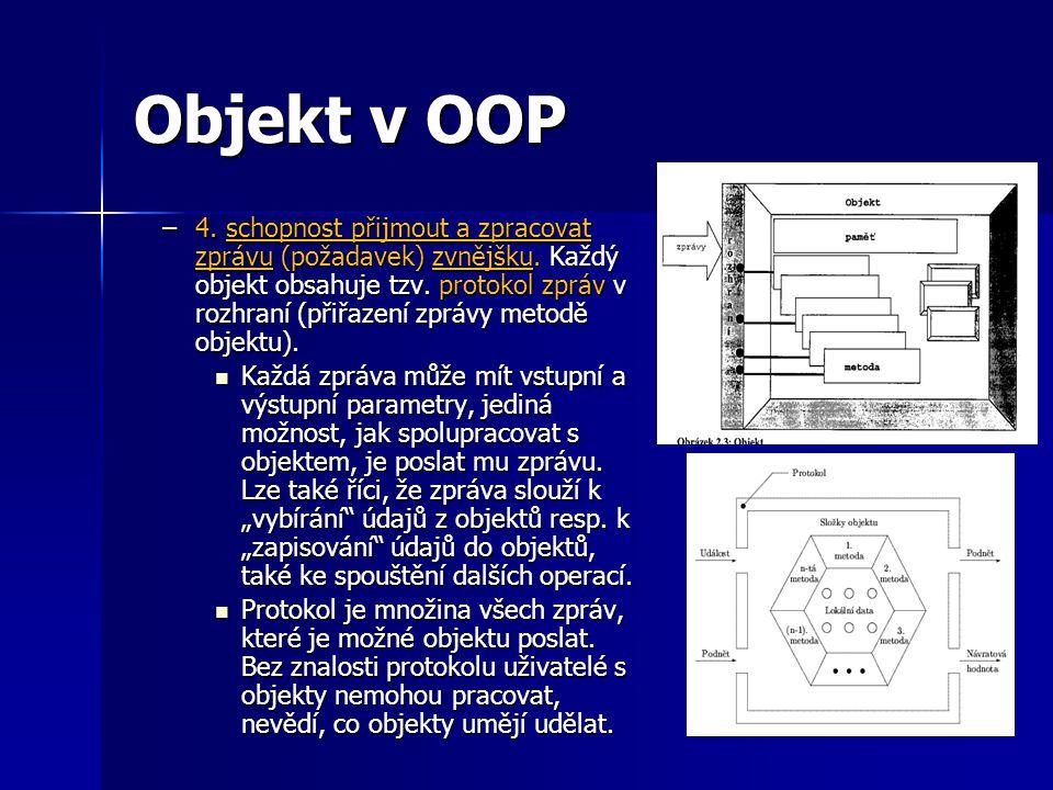 Objekt v OOP - zprávy Zpráva je komunikační jednotka mezi dvěma objekty, která umožňuje, aby funkce SW aplikace byla výsledkem spolupráce skupiny objektů.