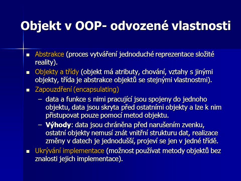 Objekt v OOP- odvozené vlastnosti Abstrakce (proces vytváření jednoduché reprezentace složité reality). Abstrakce (proces vytváření jednoduché repreze