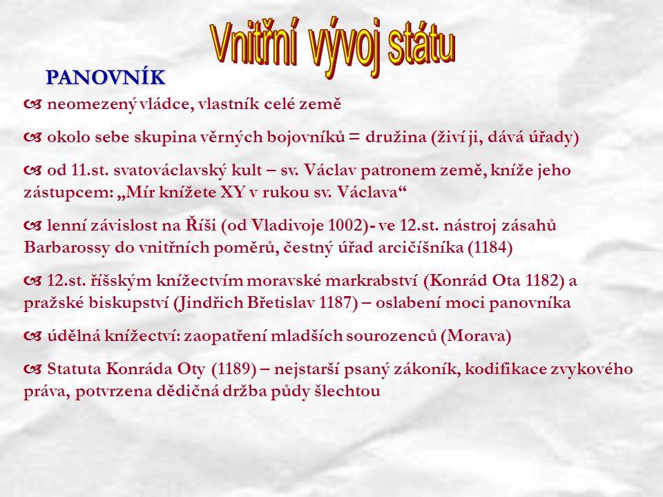  neomezený vládce, vlastník celé země  okolo sebe skupina věrných bojovníků = družina (živí ji, dává úřady)  od 11.st. svatováclavský kult – sv. Vá