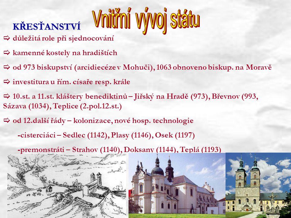  důležitá role při sjednocování  kamenné kostely na hradištích  od 973 biskupství (arcidiecéze v Mohuči), 1063 obnoveno biskup. na Moravě  investi