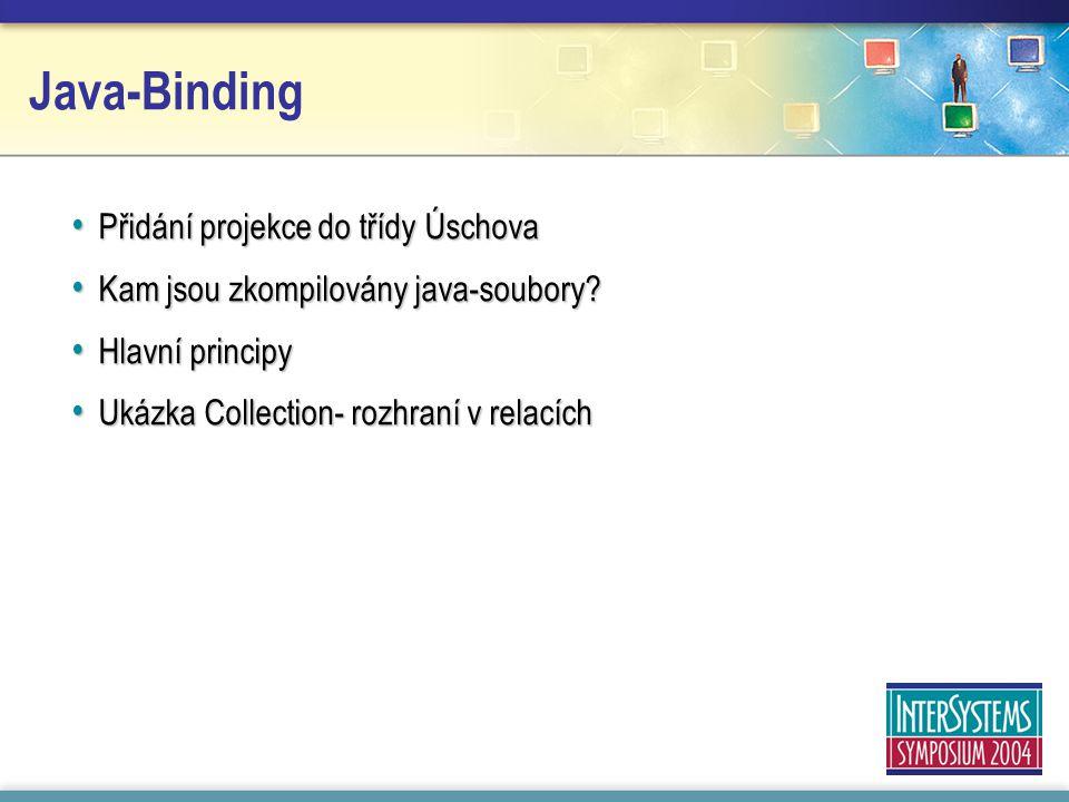 Java-Binding Přidání projekce do třídy Úschova Přidání projekce do třídy Úschova Kam jsou zkompilovány java-soubory.