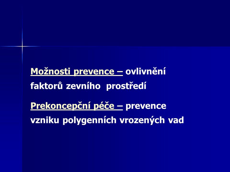 Možnosti prevence – ovlivnění faktorů zevního prostředí Prekoncepční péče – prevence vzniku polygenních vrozených vad