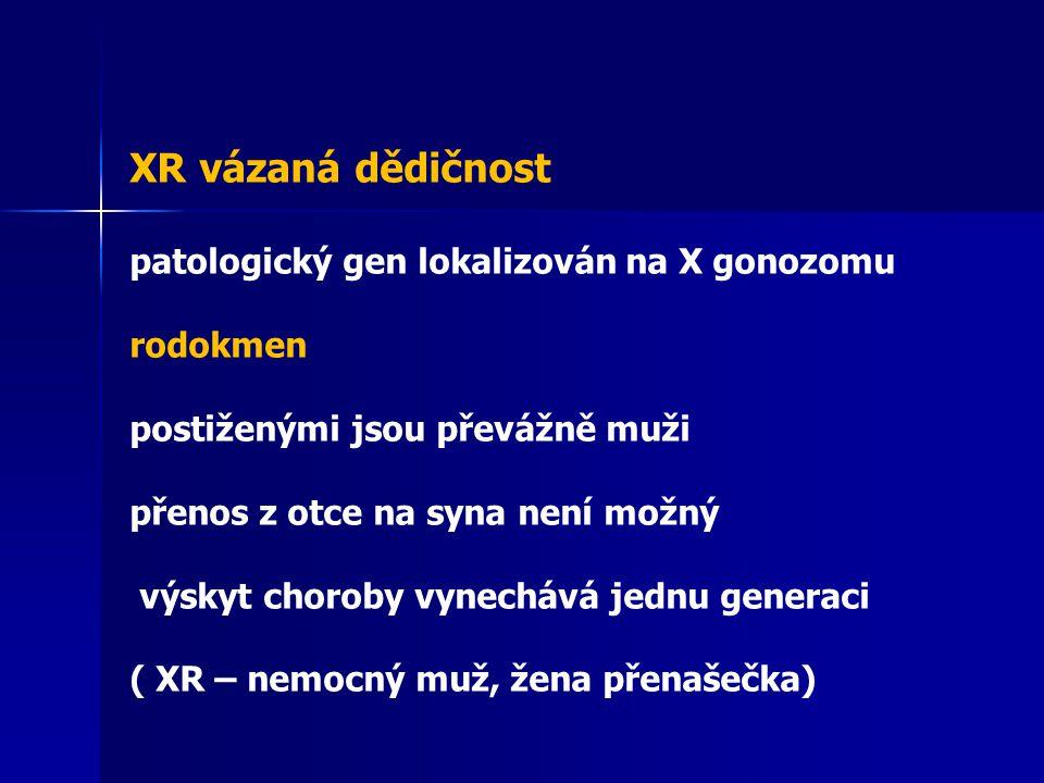 XR vázaná dědičnost patologický gen lokalizován na X gonozomu rodokmen postiženými jsou převážně muži přenos z otce na syna není možný výskyt choroby