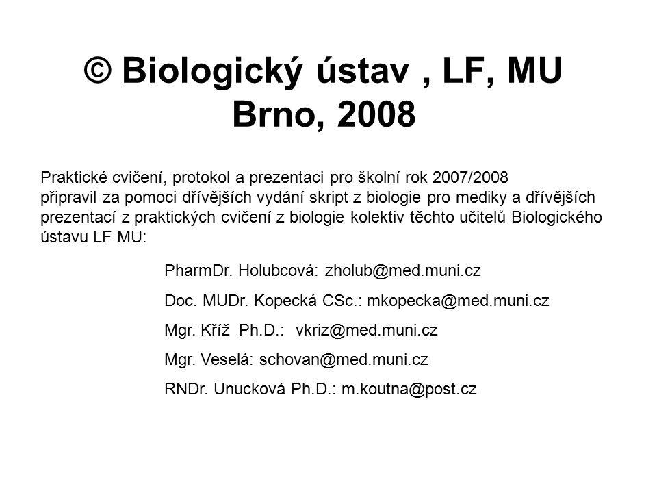 © Biologický ústav, LF, MU Brno, 2008 PharmDr. Holubcová: zholub@med.muni.cz Doc. MUDr. Kopecká CSc.: mkopecka@med.muni.cz Mgr. Kříž Ph.D.:vkriz@med.m