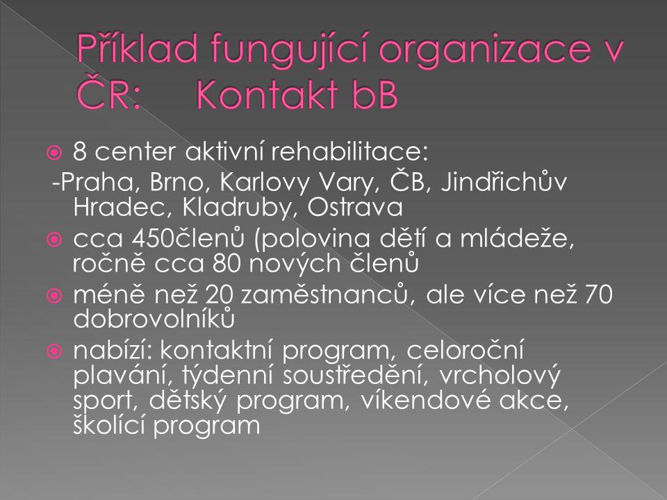  8 center aktivní rehabilitace: -Praha, Brno, Karlovy Vary, ČB, Jindřichův Hradec, Kladruby, Ostrava  cca 450členů (polovina dětí a mládeže, ročně cca 80 nových členů  méně než 20 zaměstnanců, ale více než 70 dobrovolníků  nabízí: kontaktní program, celoroční plavání, týdenní soustředění, vrcholový sport, dětský program, víkendové akce, školící program