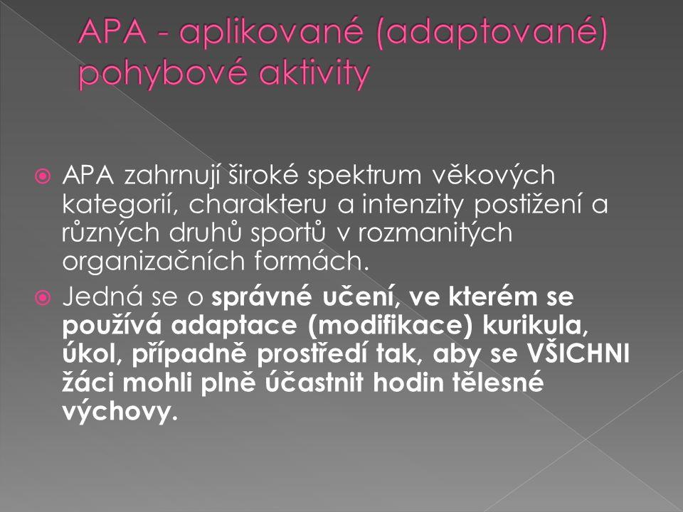  APA zahrnují široké spektrum věkových kategorií, charakteru a intenzity postižení a různých druhů sportů v rozmanitých organizačních formách.
