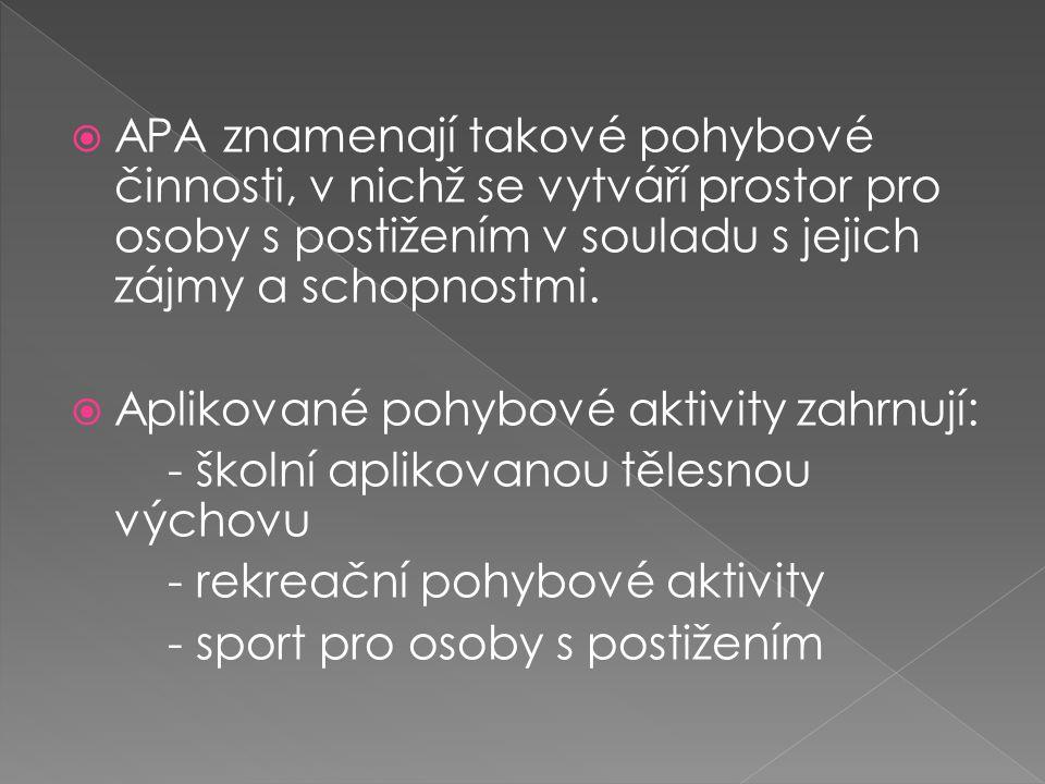  APA znamenají takové pohybové činnosti, v nichž se vytváří prostor pro osoby s postižením v souladu s jejich zájmy a schopnostmi.