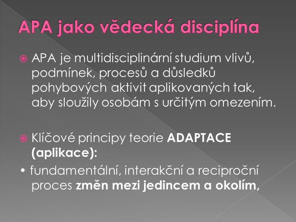  APA je multidisciplinární studium vlivů, podmínek, procesů a důsledků pohybových aktivit aplikovaných tak, aby sloužily osobám s určitým omezením.