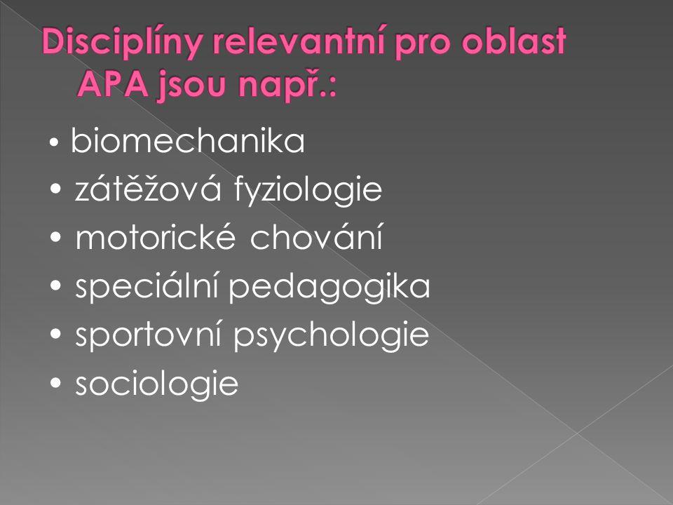 APE - Adapted Physical Education (adaptovaná tělesná výchova)  Individualizovaný program vývojových aktivit, cvičení, her, rytmických aktivit a sportu, vytvořený k naplnění specifických potřeb v tělesné výchově jednotlivců.