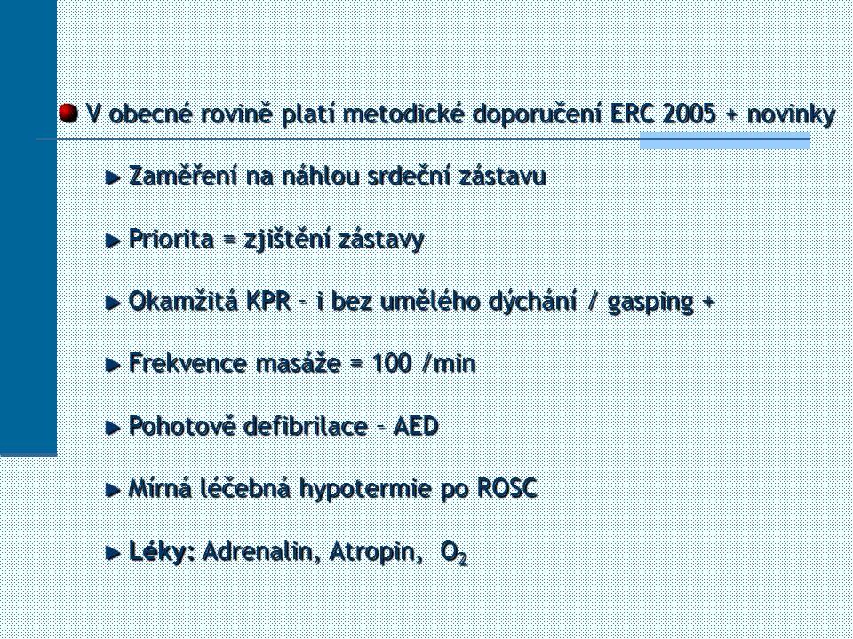 V obecné rovině platí metodické doporučení ERC 2005 + novinky V obecné rovině platí metodické doporučení ERC 2005 + novinky Zaměření na náhlou srdeční