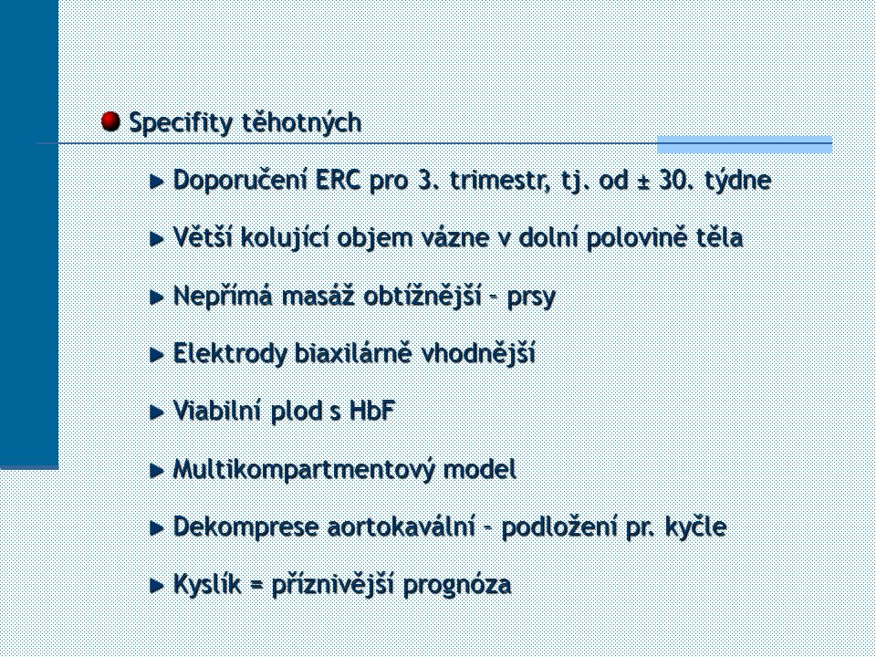Specifity těhotných Specifity těhotných Doporučení ERC pro 3. trimestr, tj. od ± 30. týdne Doporučení ERC pro 3. trimestr, tj. od ± 30. týdne Větší ko